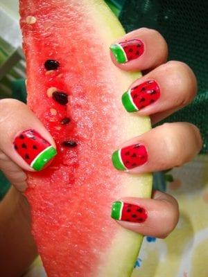 ওয়াটার মেলন নেইল আর্ট (Watermelon Nail Art)