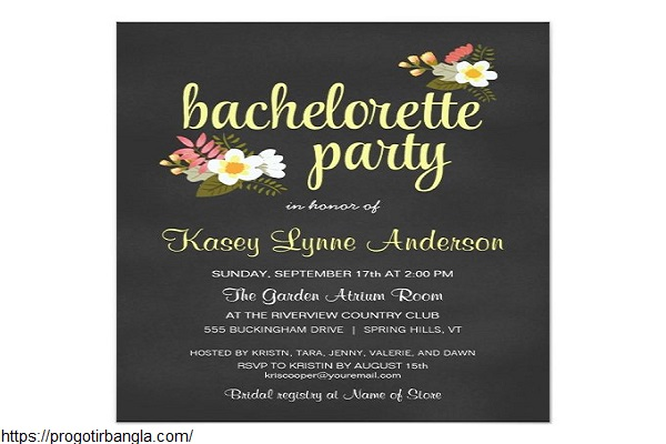 Chalkboard Floral Bachelorette Party Invitations